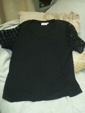 CC BLACK TOP WITH LACE SLEEVES  SIZE M