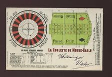 France Monte-Carlo Gambling Roulette card lay out payments used 1900 PPC