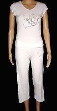 Baby Phat Sleepwear Capri Pant & T Shirt Medium Pajama Set White w/ Logo