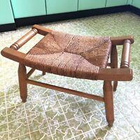 """Rush Seat Stool Bench Oak Wood Saddle Curved 21""""x12""""x14"""" Vtg Mid Century"""