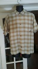 !! PATAGONIA Men Beige Brown Check Short Sleeve Organic Cotton Shirt Size M