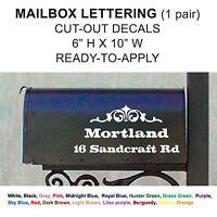 MAILBOX NUMBERS 2 PIECE SET Custom Cut-out Vinyl Decal Sticker