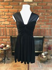 BAR III USA sz SMALL Black Sheer Mesh Ruched Accent  Event Cocktail Party Dress