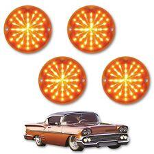 1958 Chevy Impala Bel Air Biscayne LED Amber Front Park Light Lamp Lens Set of 4