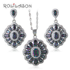 JS661 Amazing Rainbow Mystic Topaz Jewelry Set Earrings Necklace Ring for Ladies