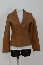 WOMENS SAKI 100 % GENUINE LEATHER JACKET BLAZER BROWN FITTED SIZE S SMALL 36
