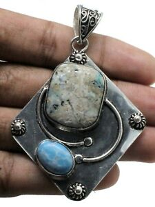"""925 Sterling Silver Turquoise & Larimar Gemstone Jewelry Pendant Size-2.10"""""""