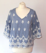 Porcelain China Print Top Blue White Arty Trumpet Sleeve Embroidered Chambray 10
