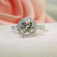 Solitaire 1.51Ct Near White Moissanite Halo Engagement Ring 925 Sterling Silver