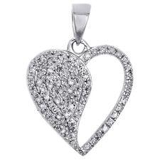 14K or blanc cœur ouvert 12 Diamonds Cross Necklace