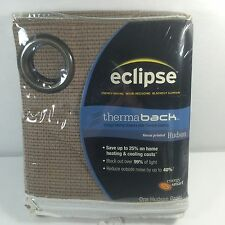 Eclipse Blackout Curtain Panel ThermaBack Sound Reducer Brown Hudson 42x84
