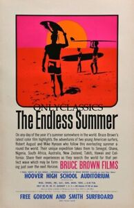 """1966 """"THE ENDLESS SUMMER"""" 11X17 SURF MOVIE POSTER FANTASTIC SURFBOARD GRAPHICS"""