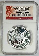 2014 Australia Lunar Series Proof 1/2 oz Silver Horse PF 69 Ultra Cameo