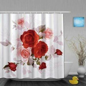 Fancy garden rose shower curtain polyester fabric bathroom decoration