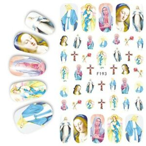 Nail Art Lace Stickers Decals Transfers Easter Jesus and Mary Religion F193