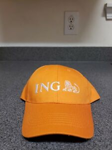 ING Lion Embroidered Orange Baseball Hat Cap and Adjustable Cloth Strap