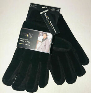 Tru Fit Mens Knit Suede Gloves Insulated One Size Fits All Black Leather New