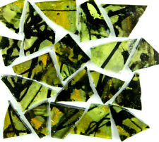 50 metallic Olive Green and Yellow Dragonfly Mosaic Art Glass by Makena Tile