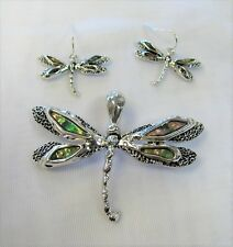 Charm Necklace Set Silver Plated Abalone Shell Inlay Dragonfly Slide Pendant