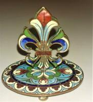 Beautiful French 19th Champleve Enamelled Fleur de Lise Card/Menu Holder