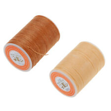 2pcs Polyester Waxed Flat Thread DIY Leather Craft 0.55mm Light Brown&Beige