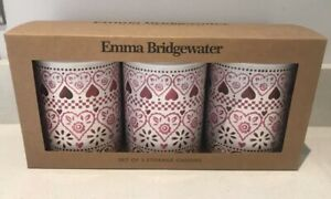 Emma Bridgewater 3 storage Caddies Hearts Sampler Tins BNIB folksy Cottage