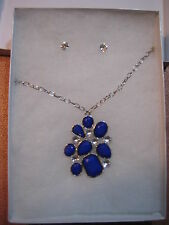 Necklace Earrings Set Blue Rhinestone Fashion Jewelry Box 8