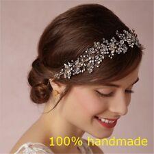 Perla con Diamantes Cristales y Oro Boda Nupcial Diadema Cinta Accesorio Para El Cabello Tiara