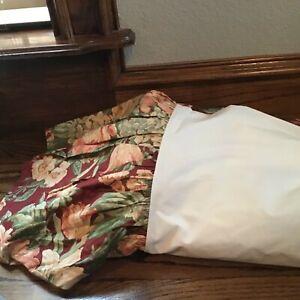 Queen Red Floral RALPH LAUREN 100% Cotton Bed Skirt!