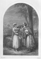 PRETTY GIRL REBEKAH REBECCA & ELIEZER AT WELL ~ 1860 BIBLE Art Print Engraving