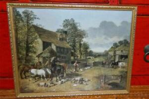 VINTAGE Tranquil Country Village Scene Print Guilded Timber Frame