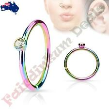 316L Surgical Steel Rainbow Nose Ring Cut Hoop with Tiny Side Set Clear CZ Gem