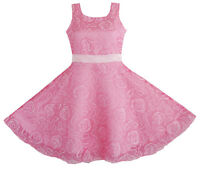 Flower Girl Dress Pink Rose Wedding Pageant Size 3 4 5 6 7 8 9 10 11 12 Formal