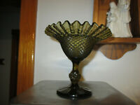 Vintage Green Diamond Point Compote Comport Ruffled Crimped Edge Indiana Glass
