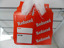 100 X STRUNG (WAS/NOW) SALE CARDS HANGER TICKETS TAGGING PRICING REDUCED DISPLAY