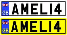 2X KIDS PERSONALISED NUMBER PLATES TOY CHILDREN  SELF ADHESIVE STICKER