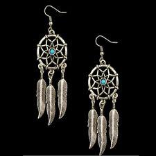 Women Girls Boho Dreamcatcher Feather Tassels Drop Dangle Earring Tribal Jewelry