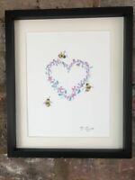 Bumblebee Bees, Wild Flowers Heart, Original Watercolour Painting, Art