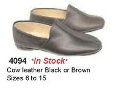 New men's BARBO ZEROSTRESS #4094 leather slippers black or brown 6-15 in W width