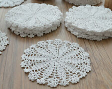 "Lot 12 White Round Hand Crochet Doilies 7"" Dozen Snowflake Wedding Ornaments"