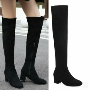 Women's Fashion Outdoor Zipper Chunky Heel Over The Knee High Suede Boots 34-45