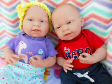 "Reborn Twin Babies Boy Girl Doll Preemie 15"" Inch Washable Berenguer Life Like"