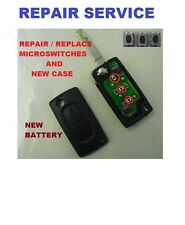 Peugeot 3 button Remote Flip Key Fob Case Repair Service New case Micro switches