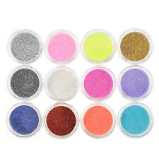 Fashion Acrylic Manicure Set Glitter Powder Dust Nail Art Tips Decor 12 Colors