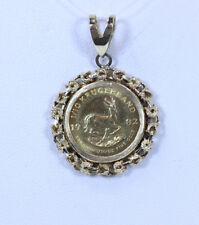 "GORGEOUS 14K YG Bezel Around 24K Yellow Gold Kugerrand Coin Pendant 1.25""- 13593"