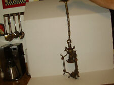 1920'S   ANTIQUE SPANISH REVIVAL  HANGING PENDANT LIGHT SINGLE LIGHT BRONZE COPP