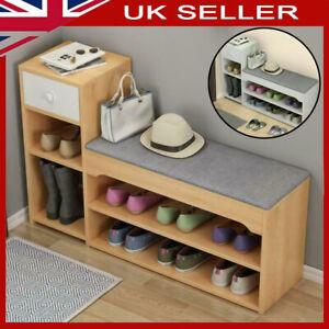 Shoes Rack Hallway Shoe Storage Bench Cabinet Seat with Drawer Padded Cushion UK