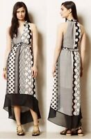 MAEVE Anthropologie Women's High-Low Maxi Dress 8 Polka Dot Striped Sleeveless
