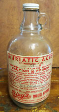 1/2 Gallon Drug Store Advertising Glass Bottle Muriatic 38% Hydrochloric Acid
