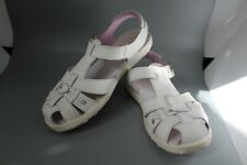 "EUC Stride Rite Girls White Leather Comfort Sandals Size 1 M ""Summer"""